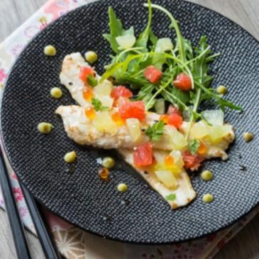 Filet de saint-pierre snacke aux agrumes et tempura de légumes